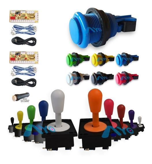 Kit 20 Botões Arcade + 2 Controles + 2 Placas Zero Delay