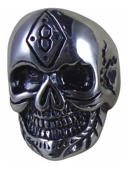 Anel Caveira 8 Motoqueiro Rock Punk Skull Aço Inox Fr Grátis
