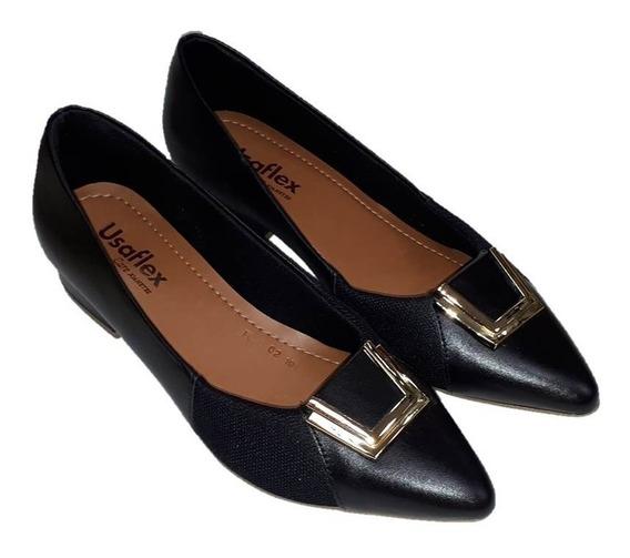 Sapato Feminino Bico Fino Usaflex Ab6602 Preto Para Joanete