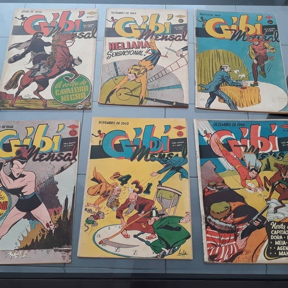 Gibi Mensal Rge 1949 Completo 12 Vol Estréia Cavaleiro Negro