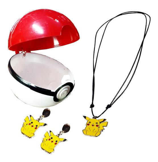 Pokebola Pikachu Pokemon Colar Brinco Bff Surpresa Love Amor