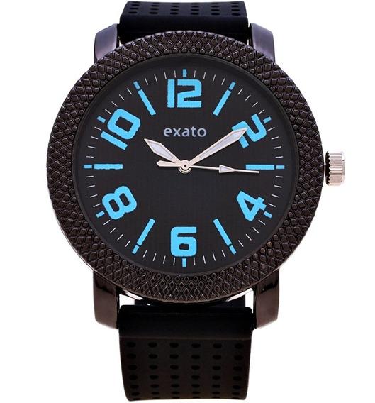 Relógio Masculino Exato Preto Azul Barato Esportivo Borracha