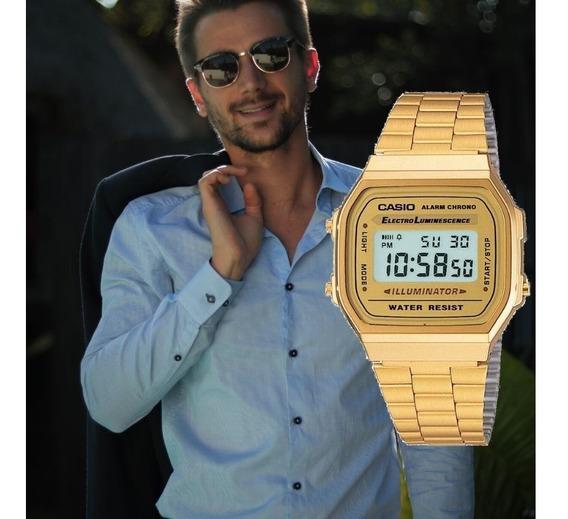 Relogio Masculino Casio Digital Vintage Dourado A168wg9wdfu