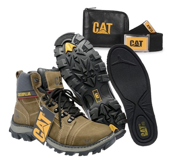 Bota Coturno Botina Original Caterpillar + Kit Brindes Cat