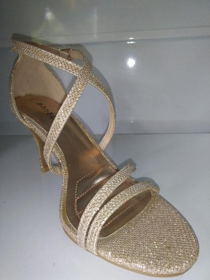 Zapatos De Fiesta Dorado Brilloso Importados! Envío Gratis!