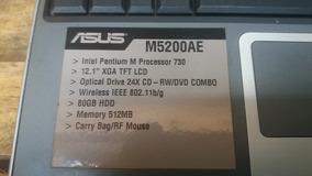 Notebook Asus M5200ae 12,1 Pentium M 512mb Ram 80gb Hd