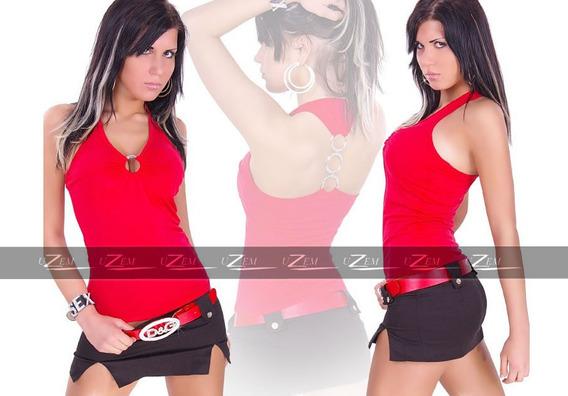Blusas Feminina Argolas Top Cropped Regata Cavada Camisetas