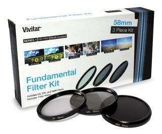 Kit Filtros 58mm Vivitar Fundamental Uv Cpl Nd8 Canon 18-55m