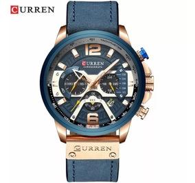 Relógio Curren 8329 Original De Couro -ultima Unidade Marrom