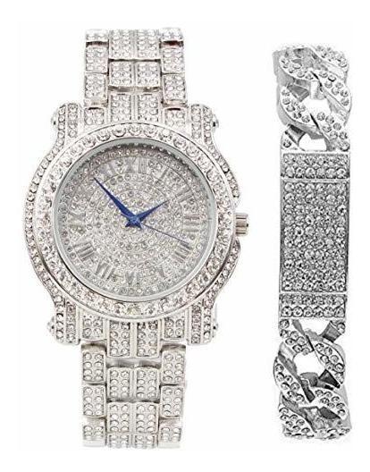 Bling-ed Out Reloj De Lujo Para Hombre Con Aspecto De Hielo,