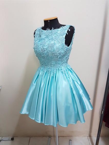 Vestido De Festa Azul Tiffany Curto Renda Bordada