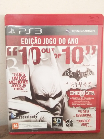 Jogo Batman Arkham City Jogo Do Ano Ps3 Mídia Física