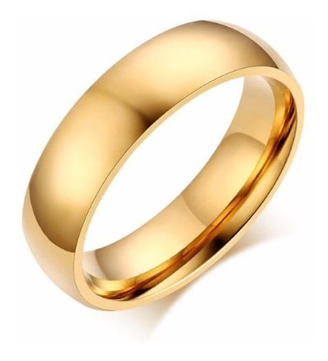 Aliança De Casamente Em Aço Inox Folheado A Ouro Dourado 18k