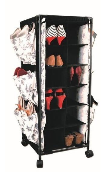 Organizador De Zapato Carrito 18 Pares 35x35x89 Cm Negro