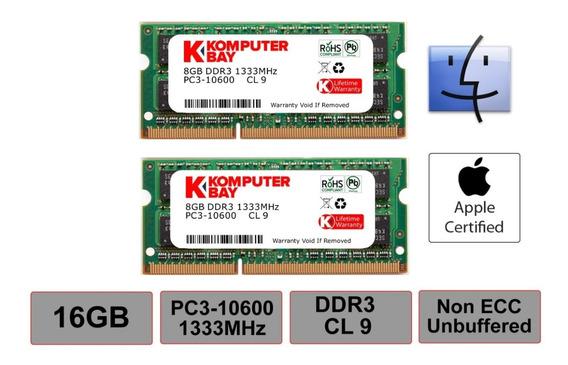 Memoria Ram 16gb Komputerbay Mac Dual Channel Kit 2x 8gb 204pin 1.35v Ddr3-1867 So-dimm 1867/14900s (1867mhz Cl13) Para
