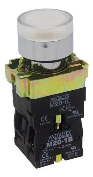 Botão De Impulsão Iluminado 22mm 1na+1nf M20igr-w7-1c Branco Metaltex