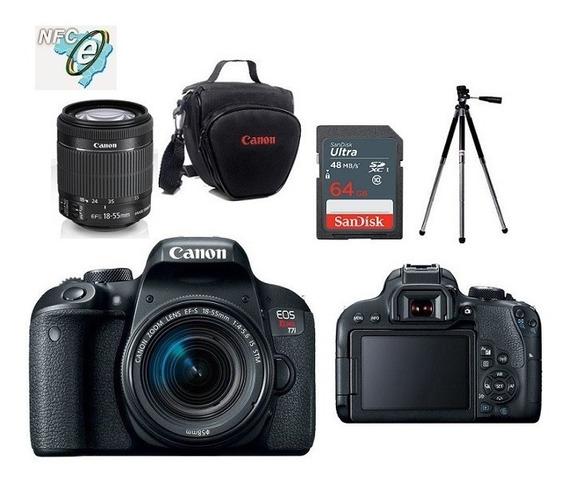 Canon Eos T7i 18-55mm Is Stm + Bolsa+tripé+cartão 64gb Nota Fiscal