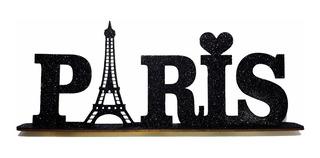 Palavra Decorativa Mdf Glitter Paris Enfeite Sala Festa Mesa