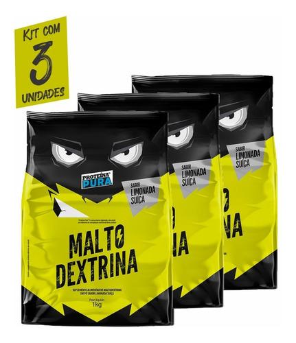 Imagem 1 de 3 de Malto Dextrina - 1kg- Sabor Limonada Suíça - Kit Com 3