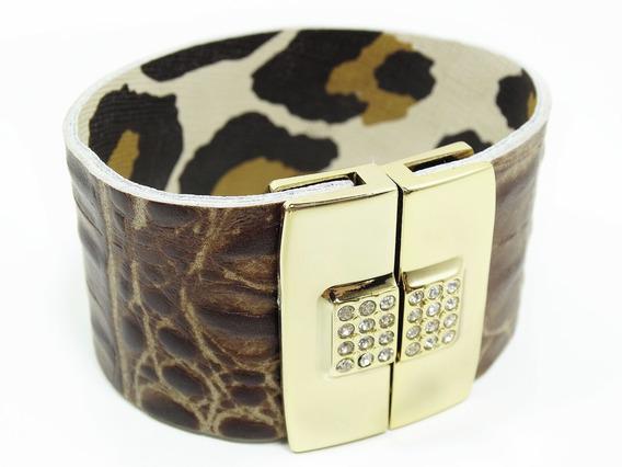 Pulseira Bracelete Em Cirrê E Strass