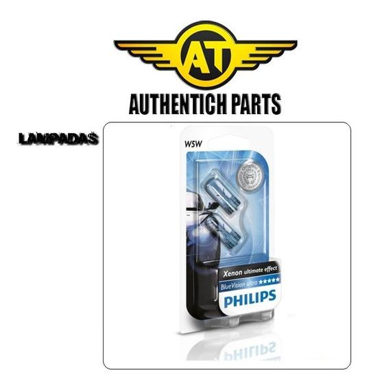 Par De Lampadas Da Lanterna Dianteira Philips Blue Vision W5w Nissan Tiida 1.8 16v 08 A 12