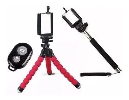 Kit Mini Tripé+controle Bluetooth+ Pau De Selfie Suporte Cl