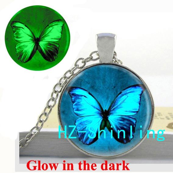Colar Pingente Borboleta Brilha Escuro