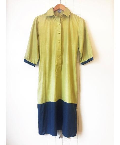 Vestido Bicolor Estilo Chemise - Tam 40