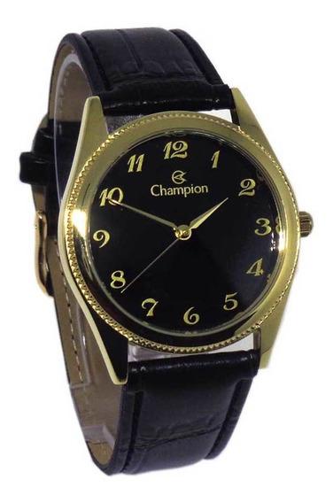 Relógio Masculino Champion Social Pulseira Couro Preta