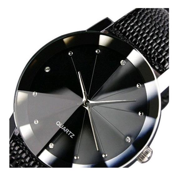 Relógio Masculino De Pulso Dark Black Vision Motion Couro