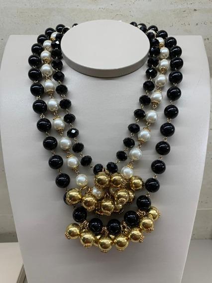 Colar Bijuteria De Luxo Golden Black