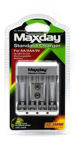 Carregador De Pilhas Aa/aaa/9v Maxday Compacto