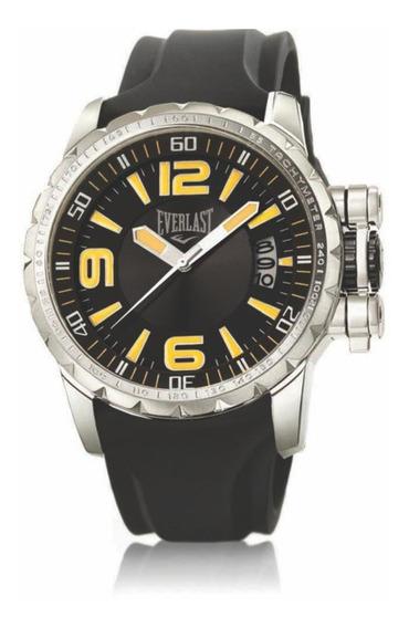 Relógio Pulso Everlast Masculino Aço Silicone Preto E39630