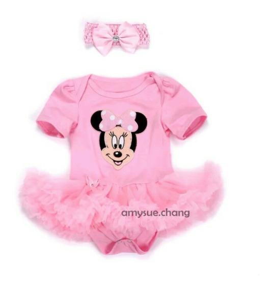 Vestido Body Bebê Minnie Rosa Saia Tutu + Tiara Importado