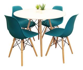 Mesa Eames Redonda 80 Cm Laqueada + 4 Sillas Eames Aqua/vainilla Excelente Calidad Y Diseño - Garantia Oficial 12 Meses