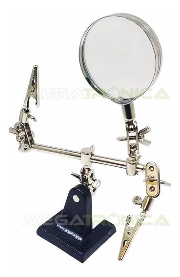 Soporte P/ Soldar Con Lupa Electronica Con Pinzas Articulado