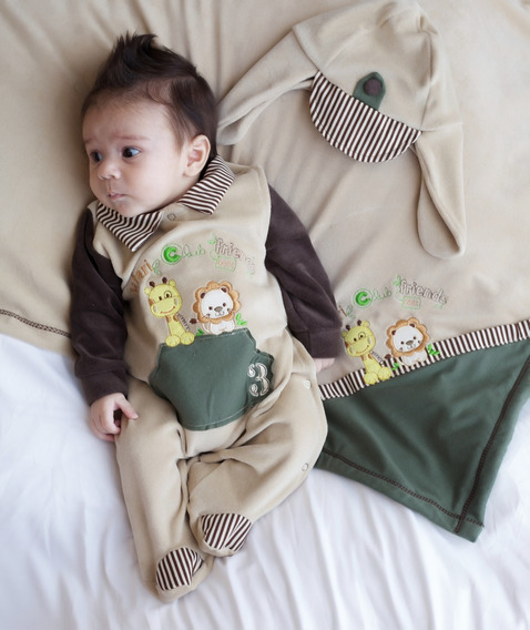 Saída De Maternidade Pandora Safari Bege Com Verde 03 Peças