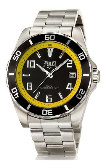 Relógio Pulso Everlast Masculino Aço Calendário E287