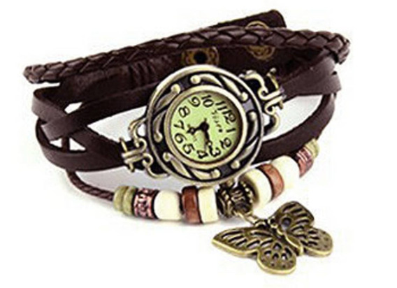 Relógio Feminino Pulso Couro Pingente Borboleta - Marrom