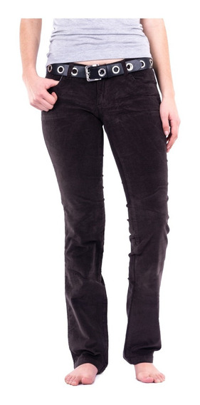 Pantalon Corderoy Tiro Bajo / Corte Recto Mujer - Colores