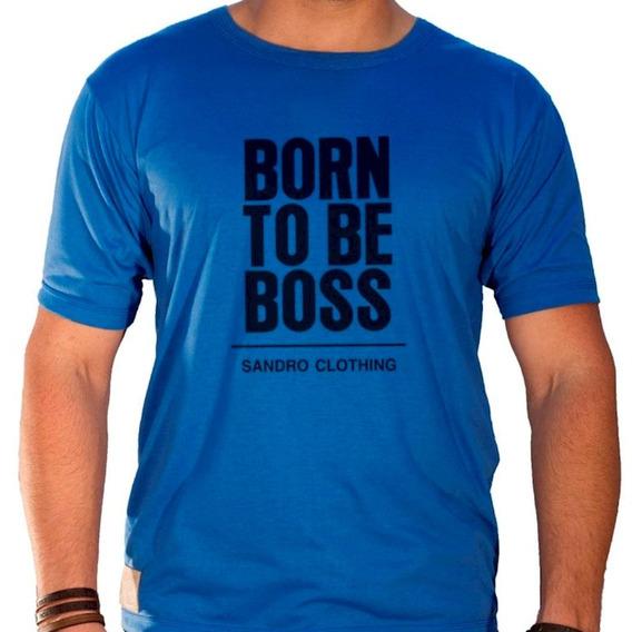 Camiseta Masculina Sandro Clothing Born To Be Boss Azul