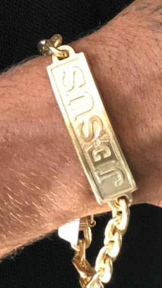 Pulseira Cadeado-placa Jesus/moeda Antiga+banho De Verniz
