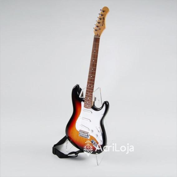 Suporte Guitarra De Chão De Acrílico Para Loja Casa Estúdio