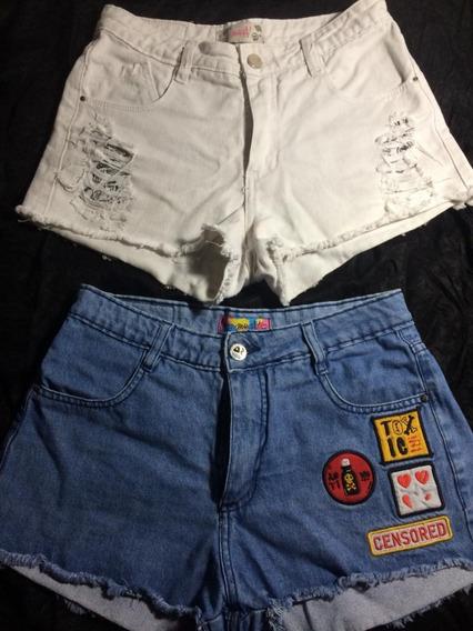 Shorts De Jeans Azul Y Blanco Talles 24 Y 26 Marca Muaa