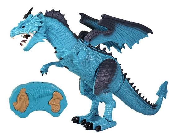 Dragão Dinossauro Controle Remoto Muito Grande Solta Fumaça