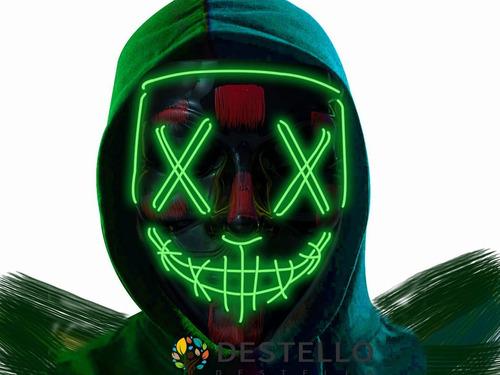 Imagen 1 de 10 de Máscara Luz Led La Purga Halloween The Purge Colores Calidad