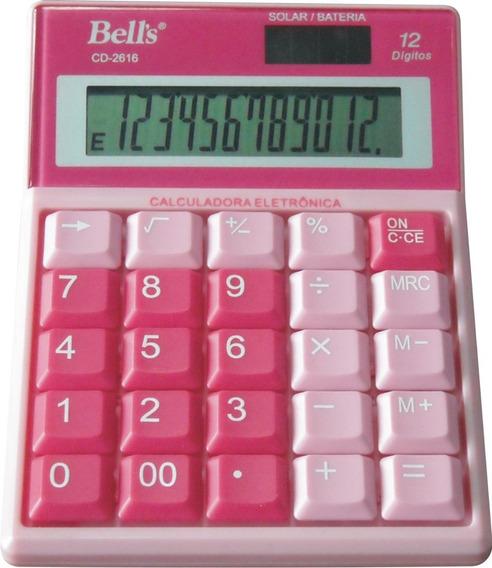 Calculadora De Mesa Bells Cd-2616 12 Dígitos Rosa / Azul