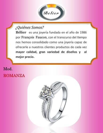 Anillo De Compromiso Plata 925 Y Diamante De Corazón