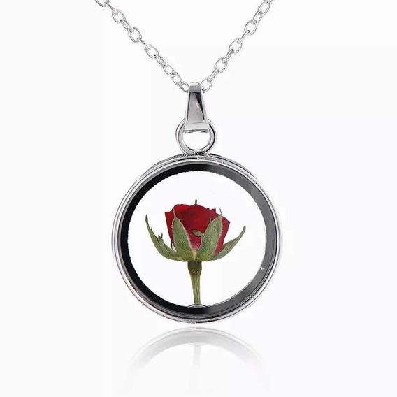 Collar Flor Rosa Encapsulada Seca Cristal