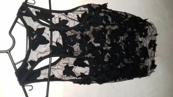 Blusa Feminina Em Renda Preta Tipo Cropped